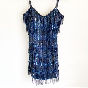 Vintage Modi Silk Beaded Flapper Spaghetti Dress